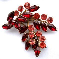 Vintage CELEBRITY Rhinestone Brooch & Earring Set w/ Ruby Red & Salmon from jordyb on Ruby Lane