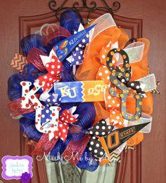 KU and OSU house divided mesh wreath by MeshMebyAng on Etsy, $95.00