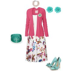 Sweet pink and teal Easter Sunday outfit