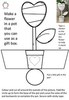 A template of a flower pot to make for Mother's Day. Use the pot for a small gift box. Mothers Day Crafts For Kids, Fun Crafts For Kids, Preschool Crafts, Mothers Day Card Template, Mothers Day Cards, Paper Folding Crafts, Mother's Day Activities, Easy Arts And Crafts, School Worksheets