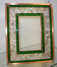 SG Frame with wire, glass blobs Mirrored Picture Frames, Rustic Picture Frames, Glass Picture Frames, Stained Glass Frames, Stained Glass Art, Fused Glass, Tiffany, Glass Mirrors, Decorative Mirrors