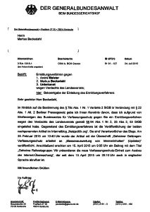 Landesverrat: Post vom Generalbundesanwalt.