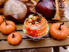 French Caramel and Chocolate Autumn Gateau - 12th Scale Miniature Food