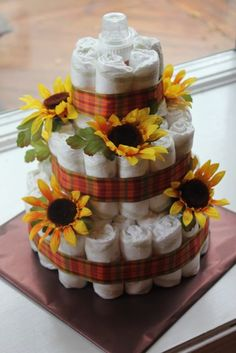 Diaper Cake. Like the size. Different decor.