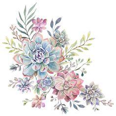 Succulents Drawing, Watercolor Succulents, Watercolor Flowers, Watercolor Art, Watercolor Tattoos, Wolf Tattoos, Finger Tattoos, Disney Tattoos, Kaktus Tattoo