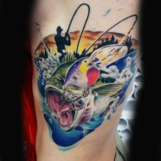 Blue And Green Vibrant Bass Man Fishing Tattoo Best Picture For Fishing Tattoo man For Your Taste Yo Baby Name Tattoos, Tattoos With Kids Names, Tattoos For Guys, Tattoo Baby, Hook Tattoos, Arrow Tattoos, Fish Tattoos, Print Tattoos, Symbol For Family Tattoo