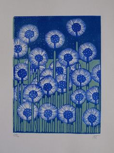 "indigodreams: ""Tournesol lino print Dandelions """