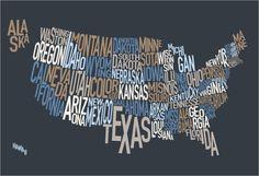typographic map art of USA