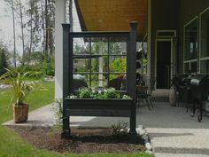 Love this idea for an old window pane planter box!