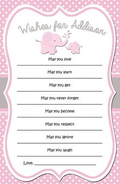 Pink and Grey Elephant Baby Shower Wishes Cards - PRINTABLE