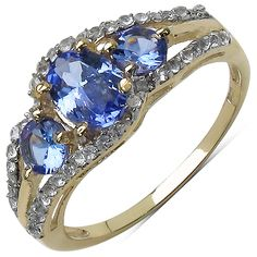 925 Sterling Silver tanzanite ring with gold plating