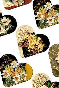 Digital Collage Sheet Vintage Flowers 1 inch by Templates4Sellers