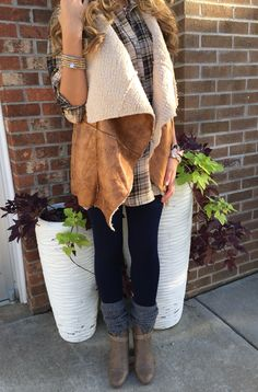 Shearling vest outfit #swoonboutique