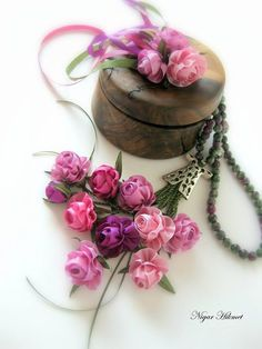 Pink ribbon ribbonwork roses by Nigar Hikmet