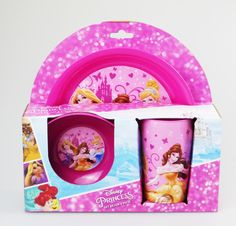 DISNEY PRINCESS 3PC BREAKFAST CHILDREN LUNCH SET PLASTIC PICNIC DINING PINK GIRL in Toys & Games, TV & Film Character Toys, TV Characters   eBay