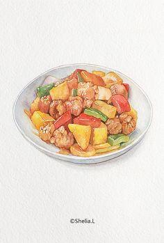 Real Food Recipes, Yummy Food, Cute Food Art, Food Sketch, Food Cartoon, Watercolor Food, Food Painting, Food Wallpaper, Food Journal
