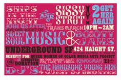 Club card flyer design by Kristen Tent Gillette at The Green Apartment for Sissy Ships fundraising party for QWOCMAP