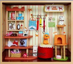 DIY Adorable Wooden Doll House Miniature Pet World Model Kit with Light and Tools