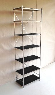 Six Foot Tall Aluminum Shelving Unit 24 Inches Wide And 12 Inches Deep With 7 Black Shelves Shelves Collapsible Shelves Portable Shelves