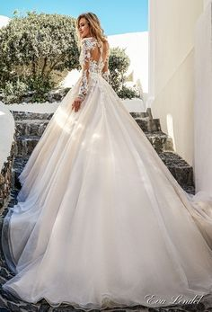 Eva Lendel 2017 bridal long sleeves v neck heavily embellished bodice romantic princess ivory a line wedding dress illusion lace back chapel train (allen) bv #wedding #bridal #weddingdress
