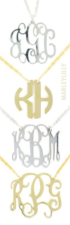 Monogrammed Filigree Necklaces from Marleylilly: The everyday preppy necklace made just for you!