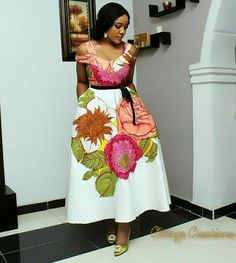 African hot flower prints wax dress, floral printed ankara fabric, nigerian party cotton wax dress