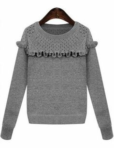 Grey Long Sleeve Ruffle Knit Sweater pictures