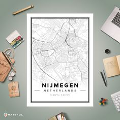 A map poster from Mapiful.com. A creative DIY tool to make your own map poster. This is 'Nijmegen'