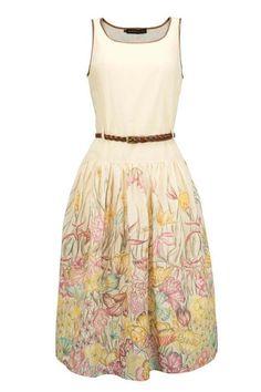 long dress in mussola, belt on waist, pattern on botton skirt by Magazzini del Sale