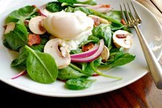 Alton Brown's Spinach Salad with Warm Bacon Dressing recipe and images by Lacey Stevens-Baier, a sweet pea chef