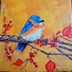 Blue bird painting. Pretty background with neat texture.