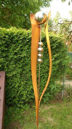 Gartendeko Rost Stab Skulptur 200 cm Beetstab mit Edelstahlkugeln