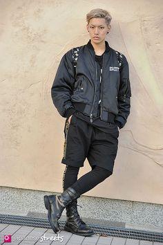 Ryu Gouda,    Shibuya, Tokyo  AUTUMN 2012,   STUDENT, 20    Blouson – Led Zeppelin  T-Shirt – Boy London  Shorts – Versace for H  Boots – N/A
