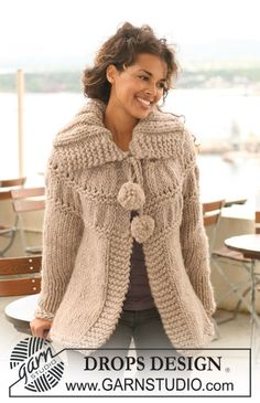 Free knitting patterns and crochet patterns by DROPS Design Crochet Coat, Crochet Jacket, Knitted Coat, Crochet Cardigan, Knit Jacket, Crochet Clothes, Knitting Patterns Free, Knit Patterns, Free Knitting