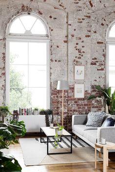 brick wall || white || grey || windows || living room