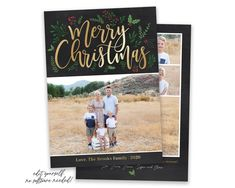Spread some holiday cheer this season with a custom Christmas Card Template. Your beautiful family photos will look perfect in this 5x7 Christmas card. You can quickly and easily edit your card online in your browser, then download and print right away! View MORE Christmas Cards HERE Custom Christmas Cards, Merry Christmas Card Photo, Christmas Photo Card Template, Christmas Templates, Holiday Cards, Gold Christmas, Birth Announcement Template, Card Templates, Family Photos