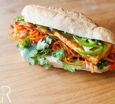 We love a Bánh Mì, and while our Vegan Teriyaki Tofu and Jalapeño Bánh Mì c… - Vegan Sandwich Veggie Recipes, Asian Recipes, Vegetarian Recipes, Cooking Recipes, Healthy Recipes, Teriyaki Tofu, Teriyaki Glaze, Cooking Tofu, Vegan Burgers