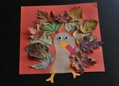 Fall Turkey Craft with Leaves