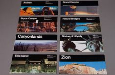 Massimo Vignelli's Unigrid These photographs show a series of leaflets documenting the. Massimo Vignelli, Bryce Canyon, Grand Canyon, Ellis Island, Leaflets, Book Design, Statue Of Liberty, Grid, Photographs