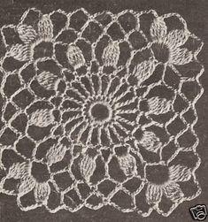 Crochet Motif Block Cluster Flower Tablecloth Pattern for sale online Crochet Tablecloth Pattern, Crochet Bedspread, Crochet Motifs, Granny Square Crochet Pattern, Crochet Flower Patterns, Crochet Round, Crochet Squares, Crochet Granny, Crochet Designs
