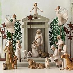 Willow Tree Nativity Set - multiple pieces/sets that go into this entire nativity scene. Eventually I would love the entire set Willow Tree Nativity Set, Nativity Creche, Christmas Nativity Scene, Christmas Home, A Christmas Story, Christmas Crafts, Christmas Decorations, Holiday Decor, Nativity Sets