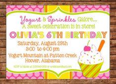 Frozen Yogurt Ice Cream Soft Serve Sundae Parlor Polka Dot Sprinkles Birthday Party Invitation - DIGITAL FILE