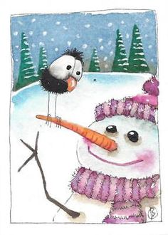 ACEO Original watercolor painting whimsical winter scene snowman pink bird crow