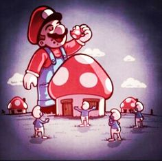 Mario eating smurfs houses