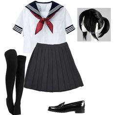 Ayano Aishi (Yandere-Chan) ~ Yandere Simulator ~ Cosplay (Default Uniform) by electricbalancekilljoy on Polyvore featuring moda and Tod's