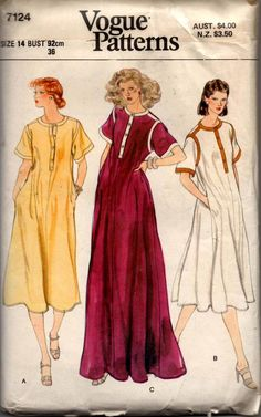 Vogue 7124 Womens Pullover Dress or Maxi 70s Vintage Sewing Pattern Size 14 Bust 36 inches UNCUT Factory Folded