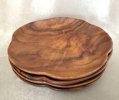 Teak Wood Plates Vintage Mid Century Set of 4 Wood by DotnBettys