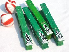 CHRISTMAS CLOTHESPIN hand painted magnetic pegs by SugarAndPaint, $10.00