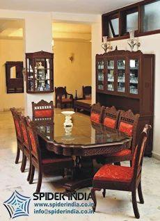 Teak Wood Dining Table Carved Set Luxury Indian Furniture