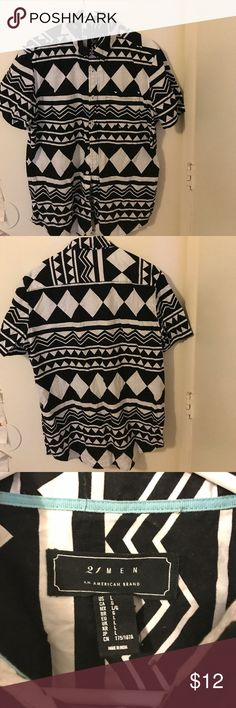 Black and White Tribal print button up Forever 21 Men's Tribal button Up 21men Shirts Casual Button Down Shirts